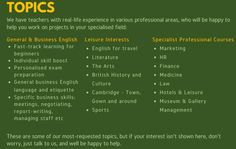 Image: Suggested topics for ABC LIVE - Tailored online English courses